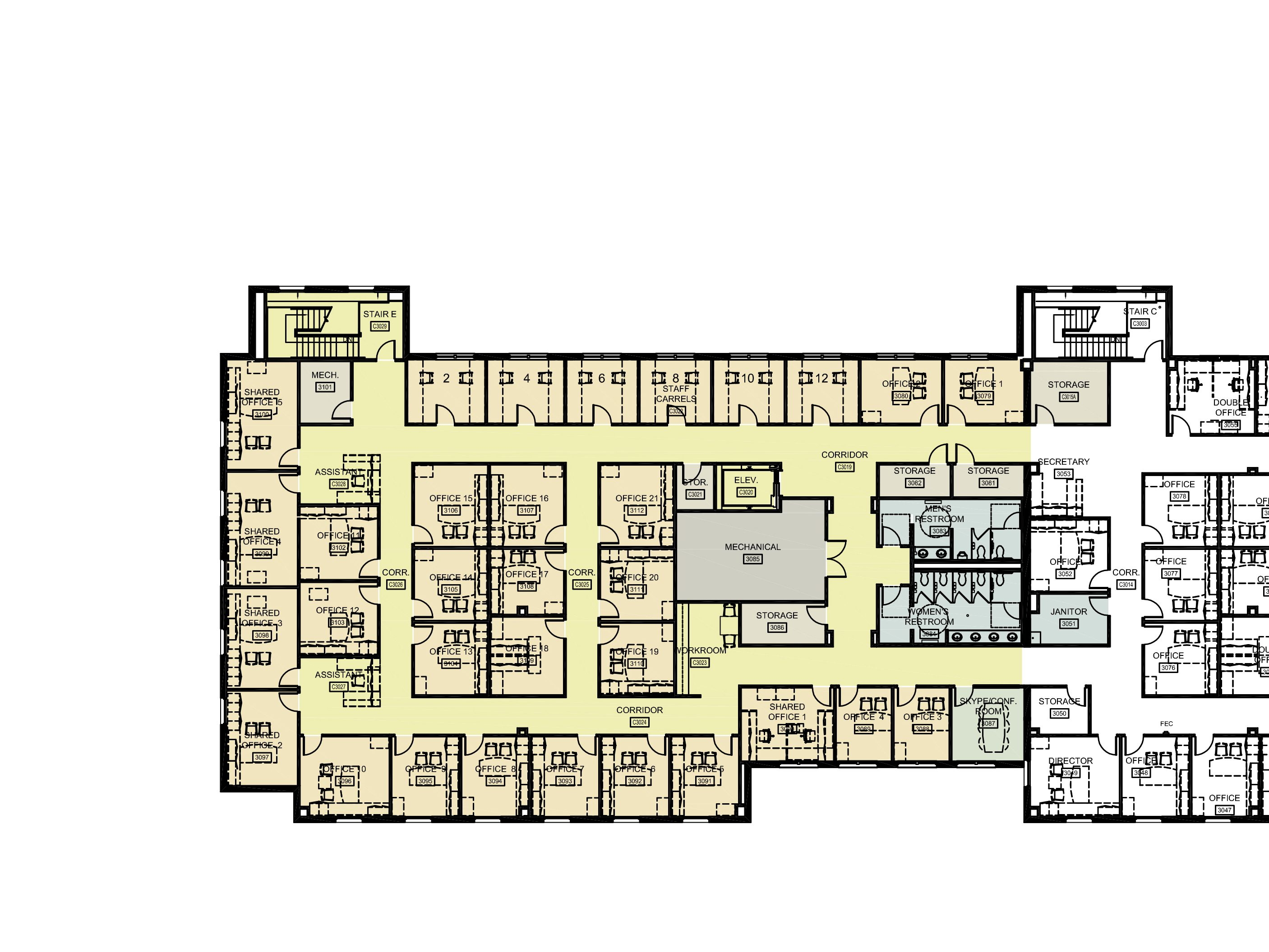 Link leads to large image version of third level Floor Plan. Contact: phone: 205.348.9876 or email: ahamlett@ua.edu for further information.