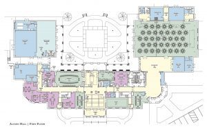 First level floor plan of Alumni Hall. Contact: Phone: 205-348-5414 or bprince@advancement.ua.edu for more information.