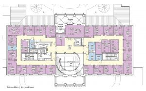 Second level floor plan for the new Alumni Hall. Contact: Phone: 205-348-5414 or bprince@advancement.ua.edu for more information.