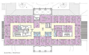 Third level floor plan of Alumni Hall. Contact: Phone: 205-348-5414 or bprince@advancement.ua.edu for more information.