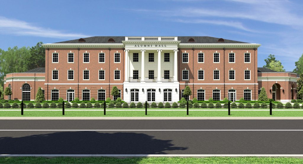 Computer rendering of front of Alumni Hall building