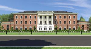 Computer rendering of front of Alumni Hall building
