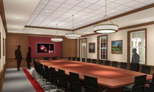 Computer rendering of boardroom.