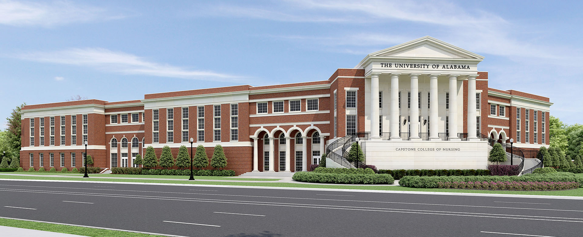 Computer render showing the new building expansion on Nursing College