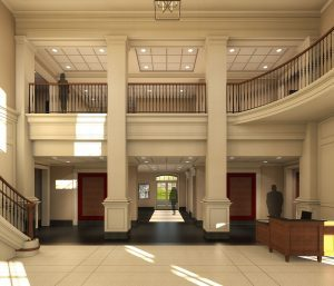 Computer rendering of lobby side with pillars