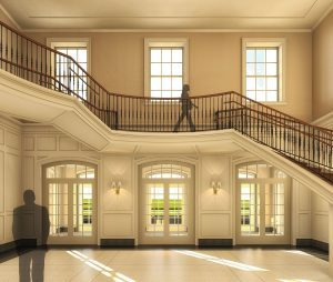 Computer rendering of lobby side with staircase and doors