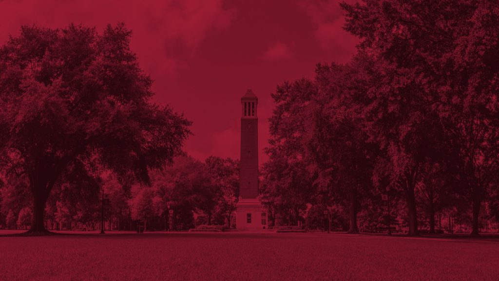 The Quad and Denny Chimes color washed in red.