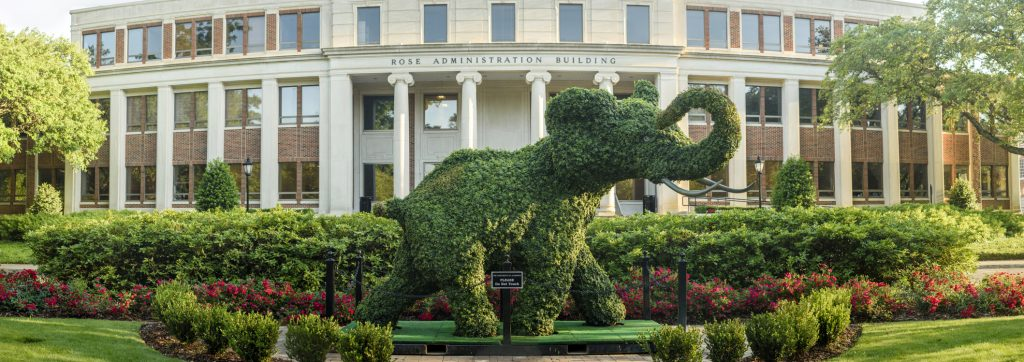 The elephant topiary and Rose Administration Building